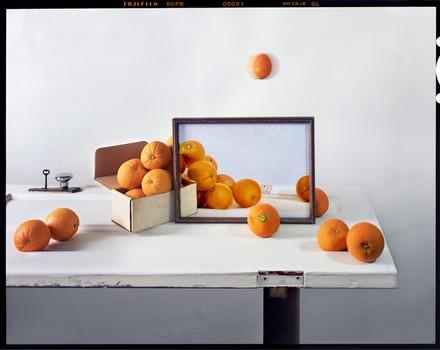 Oranges, Box & Painting on Door, 2011